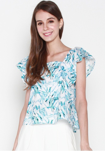 JOVET white and blue Flare Sleeved Bamboo Printed Top AA165AA77C1784GS_1