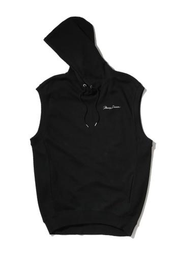 MUSIUM DIV black Flower embroidered sleeveless logo hoodie ECAE1AA7E3D344GS_1
