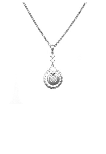 Glamorousky silver Simple Round Necklace with Silver Austrian Element Crystal 77D73ACDC8964AGS_1