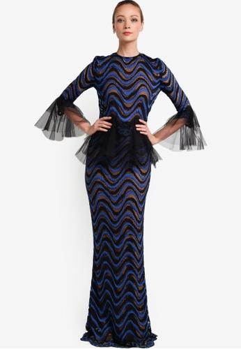 Rizalman for Zalora black and blue Naila Baju Kurung RI909AA32XJRMY_1