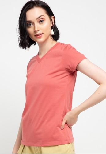Tolliver pink V Neck Basic Short Sleeve Tee EEAD1AA630EEBFGS_1