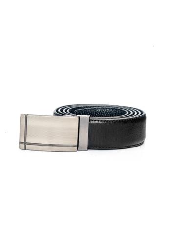 ENZODESIGN black Fine Textured Leather Plaque Buckle Belt EN357AC0F591SG_1