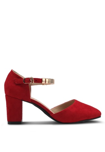 Spiffy red Ankle Strap Block Heels SP352SH0SRXHMY_1