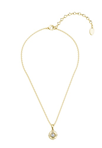 Her Jewellery gold Petal Love Pendant (Yellow Gold) - Made with premium grade crystals from Austria DB180ACF6177EAGS_1
