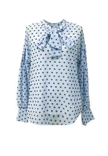 Twenty Eight Shoes blue VANSA Polka Dots Long Sleeves Blouse  VCW-Bs1212 2C13BAA43B01B8GS_1