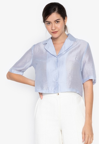 the___edit blue Zoe Cuban Collar Sheer Top 787BAAAAF91F9BGS_1