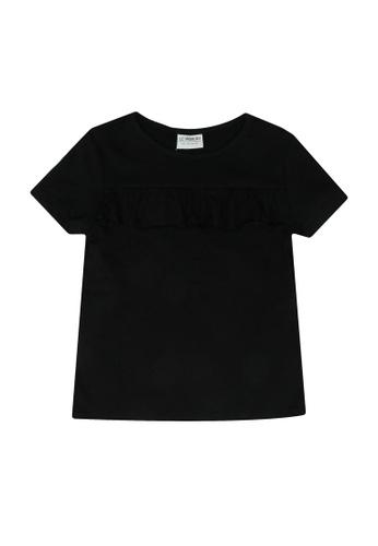 LC Waikiki black Girl's Frilly Short Sleeves T-Shirt 09E5DKA99778E0GS_1