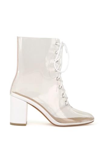 London Rag 白色 透明系带半筒靴 481FASH50FE3C5GS_1