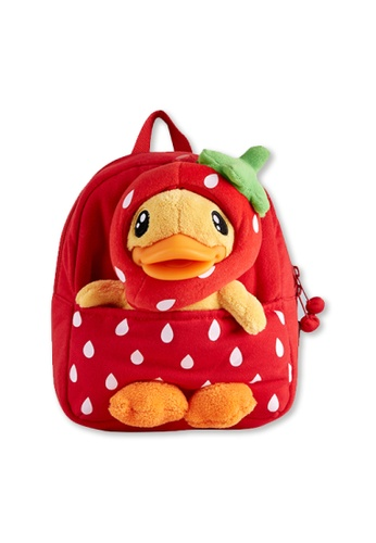 B.Duck red B.Duck Kids Backpack (Strawberry) 82201KC486AFAEGS_1