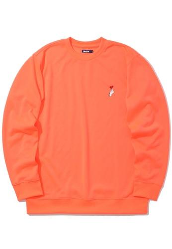 BLOCKAIT orange Embroidered emblem sweatshirt 092A5AAB2B4332GS_1