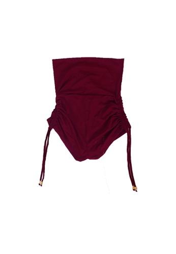 YeoMama Batik red Burgundy High Waisted Bikini Bottom 7B632US9295DD7GS_1