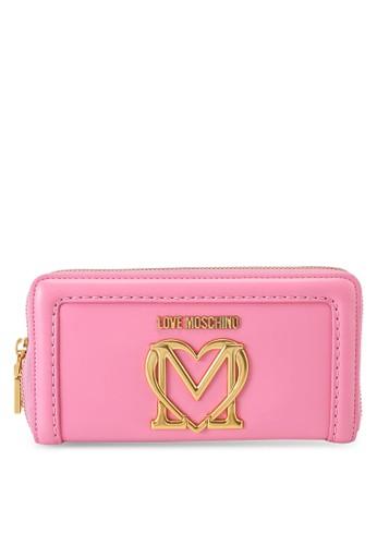 Love Moschino pink Love Logo Long Zip Around Purse 63CB4AC3858672GS_1