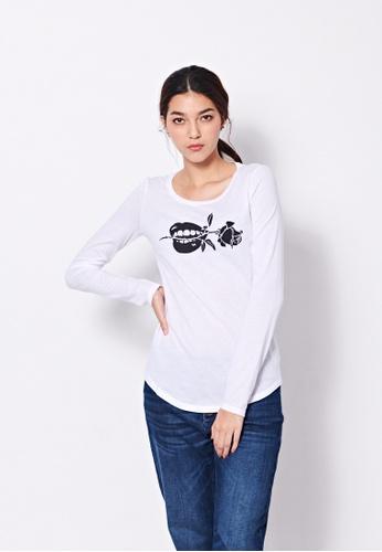 Sisley white Printed T-shirt D8683AAB3623F3GS_1