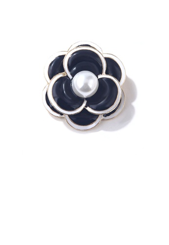 Glamorousky white Fashion and Elegant Black Flower Brooch with Imitation Pearls 16009ACF7F46C5GS_1