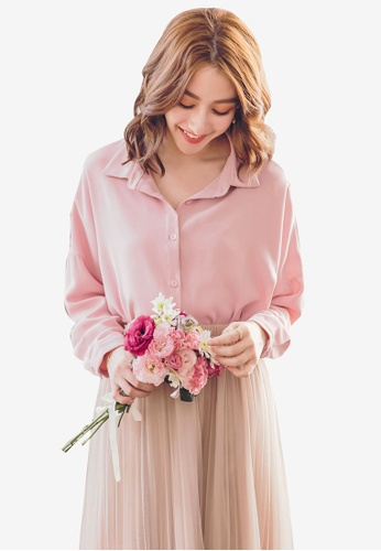 YOCO pink Buttoned Shirt and Camisole Set 7901CAA3F17CC5GS_1