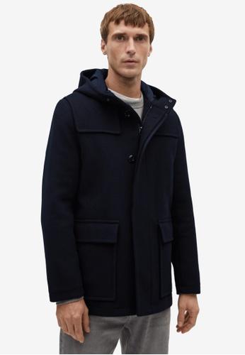 MANGO Man blue Detachable Hood Wool Coat FDA0DAA3DB37BDGS_1