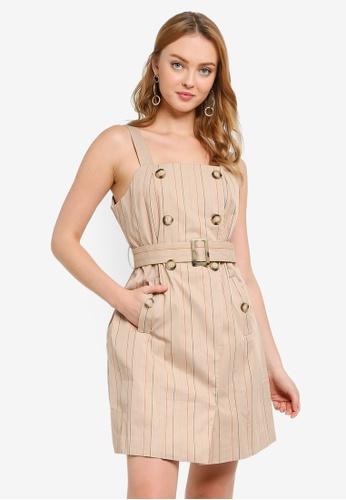 Hopeshow brown Spaghetti Strap Striped Mini Dress 71216AA528EB46GS_1