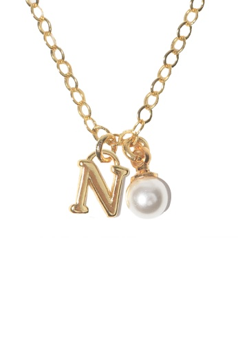 PSYNDROME gold Personalised Initial Letter Alphabet with Pearl Necklace - N 1040FACD348720GS_1