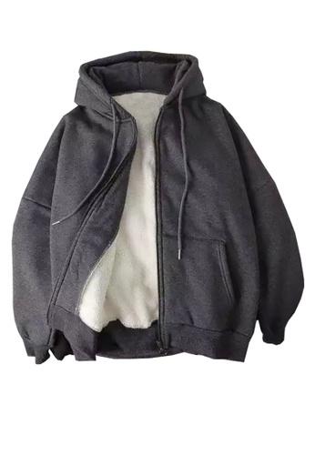 Twenty Eight Shoes grey VANSA Solid Color Composite Velvet Hooded Coat  VCW-C017 602D7AA7425155GS_1