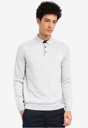 River Island grey Long Sleeve Knitted Polo Shirt E8975AAD256A2CGS_1