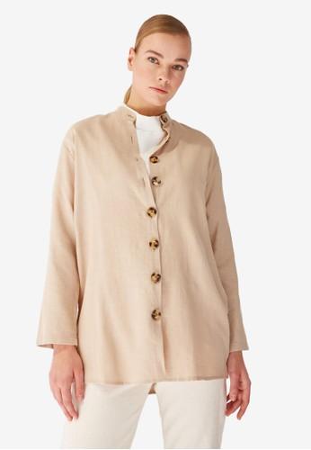 Trendyol beige Mandarin Collar Tunic 8372AAAC55D8E4GS_1