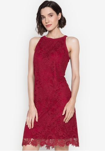 CIGNAL red Halter A-Line Lace Dress With Ribbon Neck 8EEB6AAAC6481FGS_1