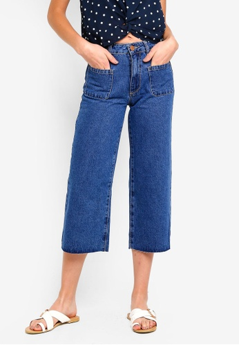 Cotton On blue Mid Rise Wide Leg Crop Jeans E632DAA2C45B6EGS_1