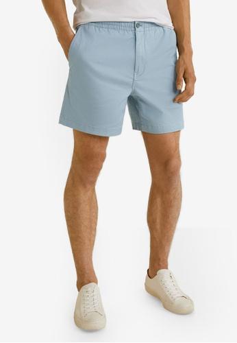 Mango Man 藍色 Elastic Waist Cotton Bermuda Shorts AF588AAA7411A8GS_1