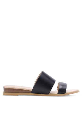 ZALORA black Low Wedge Double Strap Sliders 67B1DSH01E1033GS_1