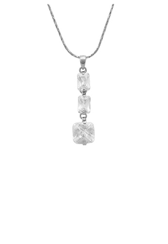 Glamorousky silver Graceful Princess-cut Necklace with Silver Austrian Element Crystal FD026AC67A8E19GS_1
