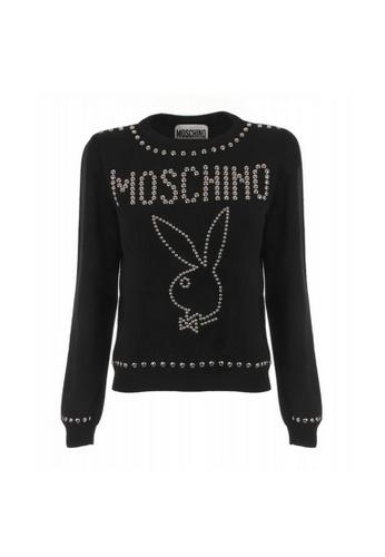 MOSCHINO black Moschino Stud Logo Sweater in Black A7EE1AAE1DBE57GS_1