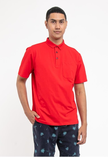 FOREST red Forest Cotton Spandex Regular Fit Polo Tee with Pocket - 23620 - Red BF826AAA90CCCFGS_1