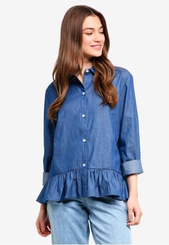 Something Borrowed blue Chambray Peplum Shirt 3E71BAA446C9D2GS_1