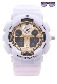 Chronograph Watch With Free Sunglasses JC-H1145K-GW-01