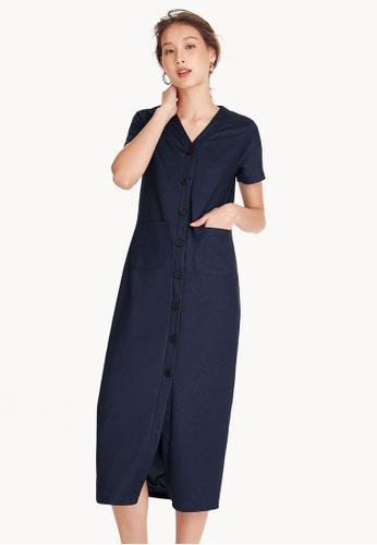 Pomelo navy V Neck Maxi Button Down Dress - Navy 7D7D1AA5836B2FGS_1