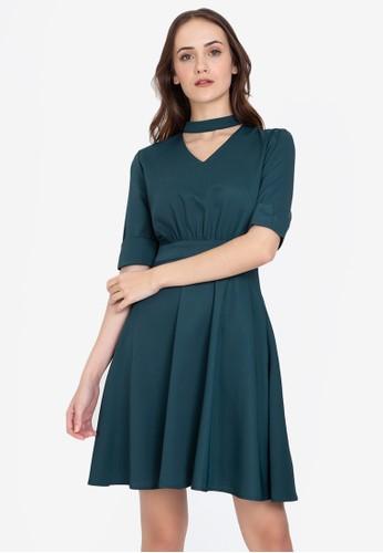 ZALORA WORK green Mock Neck Dress 7DF54AAB92DC35GS_1