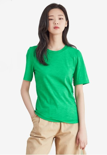NAIN green Basic Round Neck Top C5C60AA481D74AGS_1