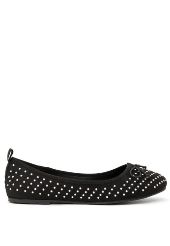 London Rag black Black Ballerina Flats with Silver Studs SH1700 E3775SHFBA8605GS_1