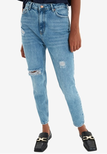 Trendyol blue High Waist Mom Jeans 3791DAA1FE3D61GS_1