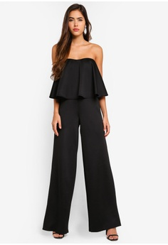 c05ea6a0532 MISSGUIDED black Bandeau Frill Wide Leg Jumpsuit F9FD4AA5F131EDGS 1