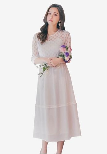 Yoco white Circle Laced Dress D8C7DAAA526FC7GS_1