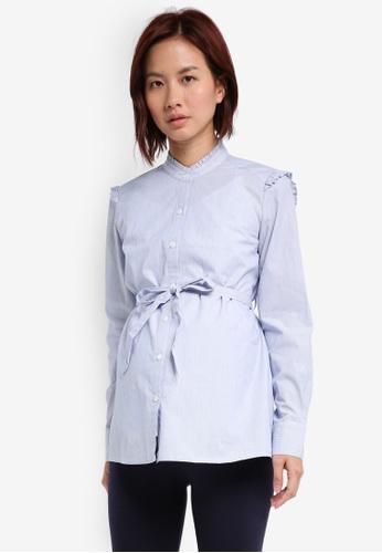 JoJo Maman Bébé blue Maternity Frill Shirt 7F09BAA280818FGS_1
