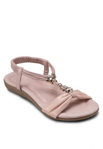 金屬飾Tesprit taiwan字帶繞踝涼鞋, 女鞋, 涼鞋