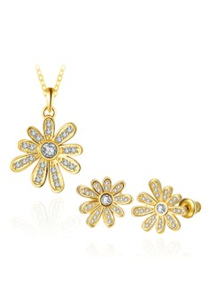 Treasure by B&D S493-A Diva Design Daisy Shape Necklace Stud Earrings Set Plated Zircon Inlay Jewellery Set