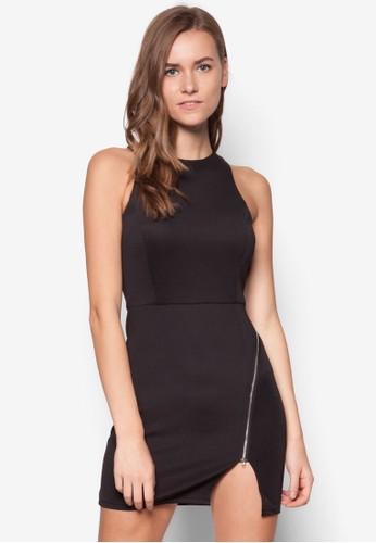 側拉鍊開叉貼身洋裝, 服zalora時尚購物網的koumi koumi飾, 派對洋裝