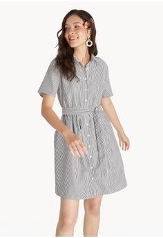 74a1ed290 Pomelo black Mini Striped Button Up Dress - Black 35B76AA291B340GS_1