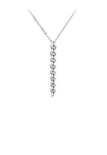 Glamorousky silver Simple Personality Geometric Tassel 316L Stainless Steel Pendant with Necklace F3636AC4770A3EGS_1