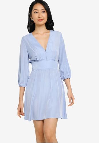 ZALORA BASICS blue V Neck Puff Sleeve Fit and Flare Dress CC57BAAC8644D5GS_1