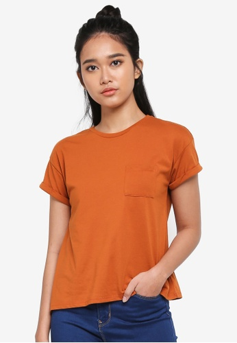 Penshoppe orange Boxy Tee With Pocket 530D4AAC59067BGS_1