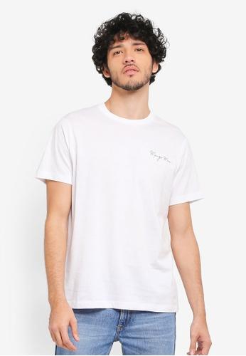 MANGO Man white Logo Cotton T-Shirt MA449AA0T1E7MY_1